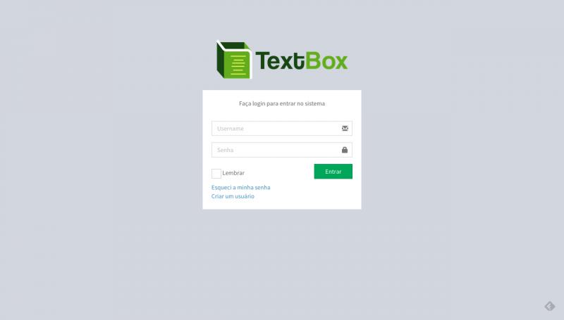 tela de login da textbox
